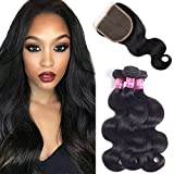 Brazilian Body Wave Virgin Hair 3 Bundles With Closure Free Part 100% Unprocessed Human Hair Remy Hair Extensions Natural Color 100g/pcs By Originea(10'12'14'+10')