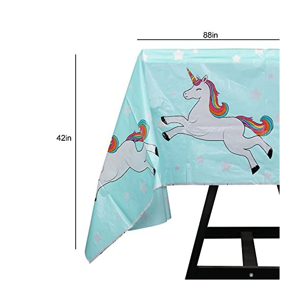 102 Piece Rainbow Unicorn Party Supplies Set Including Banner, Plates, Cups, Napkins, Straws, and Tablecloth, Serves 20 6