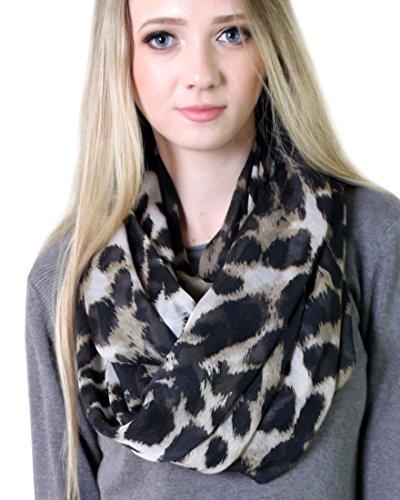 Black Leopard Scarf (Anika Dali Women Animal Print Infinity Loop Scarf (Sophie Leopard Black Brown))