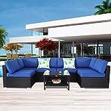 Patio Furniture Black Rattan Sofa Wicker Sectional Couch Set Outside Conversation Garden Furniture Royal Blue Cushion 7pcs