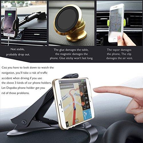 iVoler supporto per auto per cellulare supporto auto fissaggio potente senza ventosa per iPhone 7/7Plus/6S/6S Plus/5S/5C/Si, Samsung Galaxy S8/S7Edge/S6Edge, Huawei P10/P9/P8Lite, LG G6, GPS, MP3