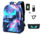 Galaxy Backpack, Anime Luminous Anti-Theft School Bag, Laptop Backpack with USB Charging Port