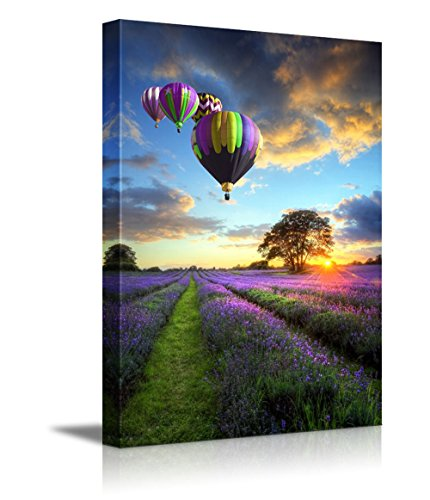 Canvas Prints Wall Art - Stunning Sunset with Hot Air Balloons Flying High Above The Lavender Fields - 24