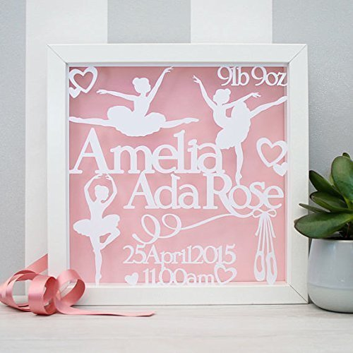 Personalised baby gift framed baby papercut baby name frame personalised baby gift framed baby papercut baby name frame ballerina nursery art negle Choice Image