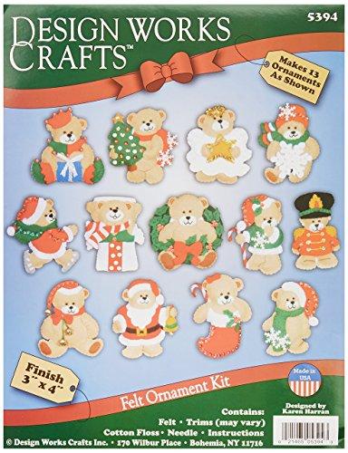 Tobin Lots of Bears Ornaments Felt Applique Kit, 3-Inch by 4-Inch, Set of 13 (Ornaments Felt)