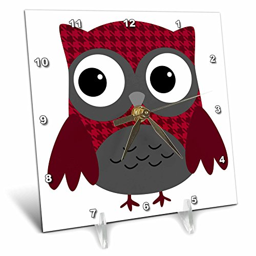 3dRose dc_61031_1 Cute Ruby Red Houndstooth Patterned Owl Desk Clock, 6 by ()