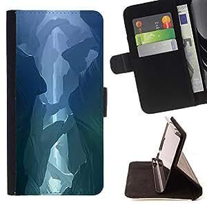 BullDog Case - FOR/HTC One M7 / - / cave blue desert mysterious nature /- Monedero de cuero de la PU Llevar cubierta de la caja con el ID Credit Card Slots Flip funda de cuer