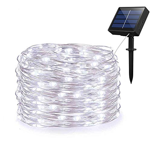 Weepong Solar String Lights, Outdoor Solar Fairy String Lights with 100 LEDs 33ft Silver Copper Wire 8 Modes Waterproof for Outdoor Home Party Wedding Patio Landscape Trees Decor (Cold White)