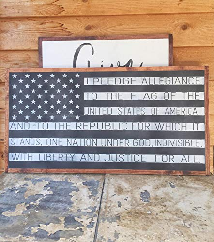 bawansign American Flag Pledge of Allegiance Fourth of July Patriotic Mantle Decor Americana Framed Wood Sign America Large Wood Sign