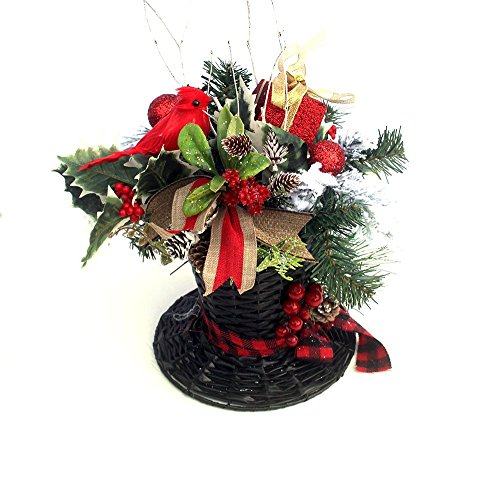 Christmas decor centerpiece, Snowman Top Hat Holiday Table Décor, Christmas Arrangement, artificial floral arrangement]()