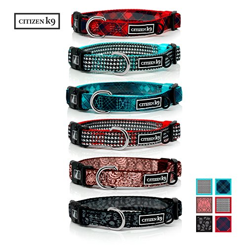 Houndstooth Collar (Buju Citizen K9 Dog Collar – Small Red Houndstooth Polyester Collars for Dogs or Cats – Pet Training Collar Stays for Small Pets - Quiet ID Tags Loop – Reflective Logo - Best Dog & Cat Accessories)