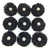 PEPPERLONELY 10PC Set Black Rhinestone Button Center Chiffon Fabric Flowers, 6.5cm(2-9/16 Inch)