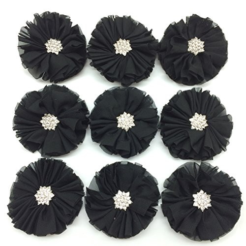 PEPPERLONELY 10PC Set Black Rhinestone Button Center Chiffon Fabric Flowers, 6.5cm(2-9/16 Inch) by PEPPERLONELY