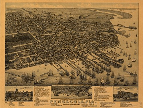 Map: 1885 Pensacola, Fla. county seat of Escambia County 1885|Florida|Pensacola|Pensacola - Florida Shopping Pensacola