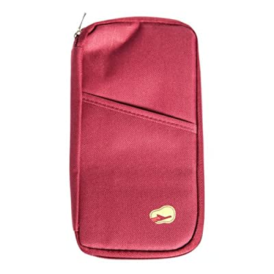 Jazooli UK Travel Passport Ticket Holder Document Wallet With Zip Closure - Red - luggage