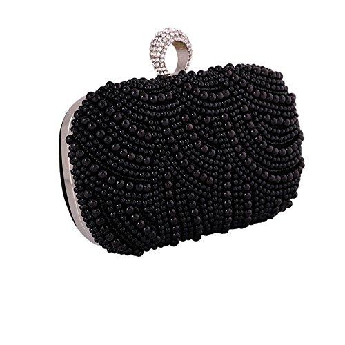 Hidouyal Bandouliere Main Sac 16 Bague Ringe Mariage 5x5x10cm Pochette Noir Soirée à Perle Sac 88x0Zrq