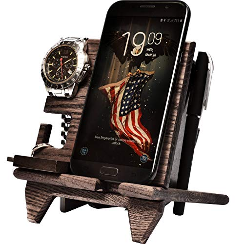 - Wood Compact Cell Phone Stand Watch Holder. Men Device Dock Organizer Mobile Base Nightstand Charging Docking Station. Women Accessory Wooden Storage Bed Side Caddy Teen Valet Happy Birthday Gift