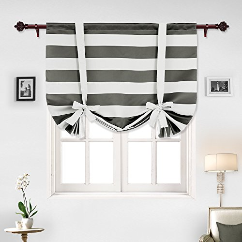 Black And White Window Treatments (Deconovo Gray Striped Blackout Window Curtains Thermal Insulated Grey and Greyish White Striped Curtains Tie Up Curtains for Bedroom 46W X 63L Gray 1 Panel)