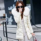 Feilongzaitianba Winter Jacket Women Winter Coat Women Fur Collar Hooded Warm Winter Coat & Parkas S-Xxl Rice White L