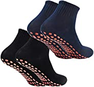 AvoDovA 2 Pair Cotton Tube Socks, Non Slip Casual Socks Toddler Socks Sport Socks for Men Women, Crew Socks fo