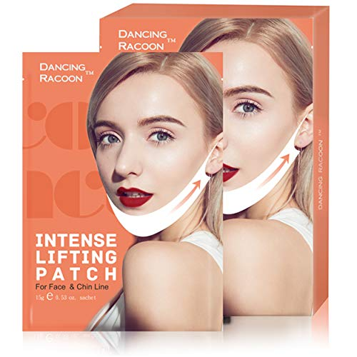 Double Chin Reducer V Line Chin Up Intense Lifting Mask, Chin Strap, Chin Mask, Face Lift, Neckline Slimmer, Moisturizing and Firming, Pack of -
