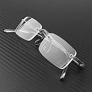 Compact Bifocal Frameless Rimless Reading Glasses Eyeglasses Eyewear + Travel Protable Smoke Portable Hard Case (+2.00)