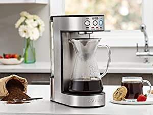 Gourmia GCM4900 Automatic Pour Over Coffee Maker - Authentic Technique - One Touch Brew Controls - 2-4 Cups - Glass Carafe - Stainless Steel Accents - Keep Warm - 60 oz Water Reservoir - 1250W