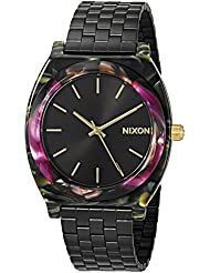 Nixon Womens Time Teller Acetate Quartz Plastic and Stainless Steel Watch, Color:Black (Model: A3272482-00)