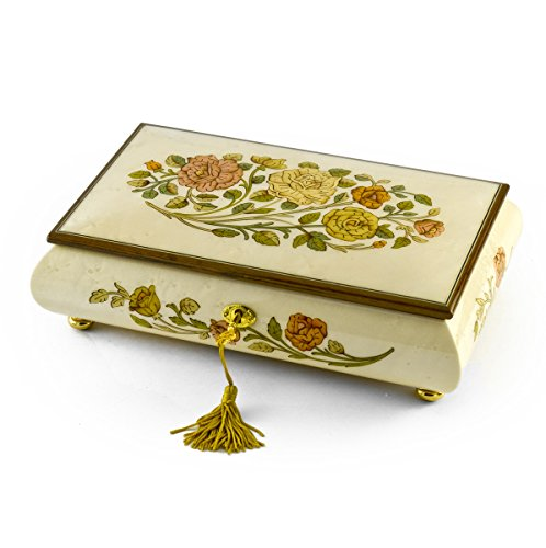 Handcrafted Bianco 18 Note Roses Inlay Musical Jewelry Box with Lock and Key - In the Good Old Summertime by MusicBoxAttic