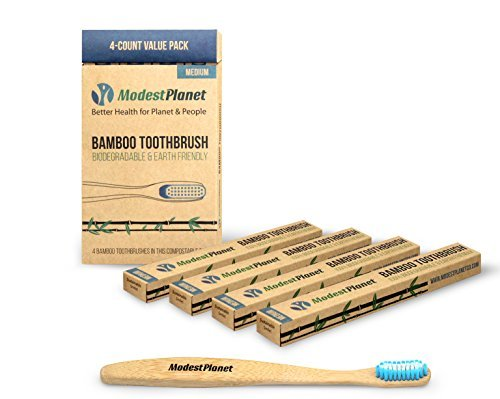 Bamboo-Toothbrushes-by-ModestPlanet-4-Pack-BPA-Free-Soft-Medium-Bristles-Sustainable-Material-Ergonomic-Easy-Grip-Design-Natural-Alternative-to-Plastic-Supports-Clean-Teeth-Gums