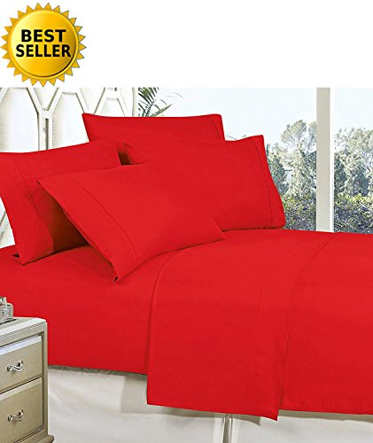 CELINE LINEN Best, Softest, Coziest Bed Sheets Ever! 1800 Thread Count Egyptian Quality Wrinkle-Resistant 4-Piece Sheet Set with Deep Pockets 100% Hypoallergenic, Full Red