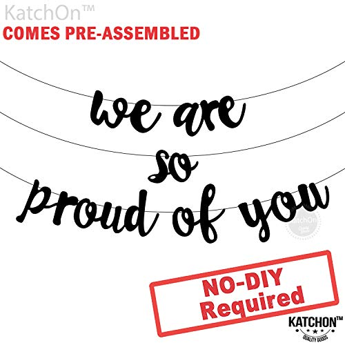 Graduation Party Items (We are so Proud of you Graduation Banner - Assembled - Graduation Party Supplies 2019, Graduation Decoration, Black Banner Sign for Mantle, Congratulations Grad Party Decorations, NO DIY, Felt)