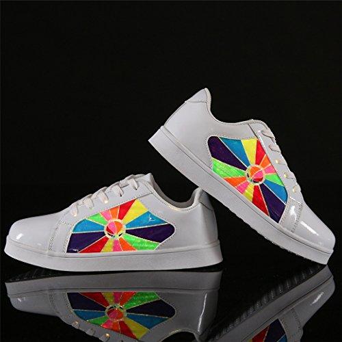 DoGeek Zapatos LED Niños Niñas USB Carga Deportivas de Luces Zapatillas blanco
