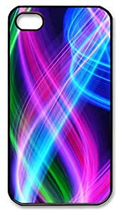iPhone 4/4s Case and Cover - Abstract Colorful Lines Polycarbonate Plastics Hard Case Cover for iPhone 4s/4 - Black