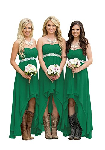 (ScelleBridal Women' Strapless High Low Bridesmaid Dresses Wedding Party Gowns Green 14)