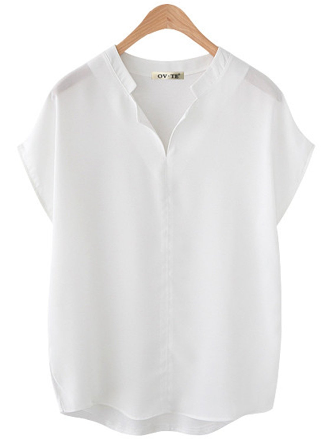 Women's V Neck Shirts Loose Fitting Batwing Short Sleeve Henley Shirts for Work (L, G-White)