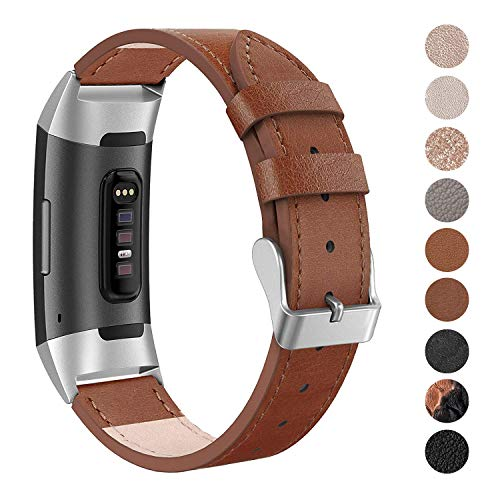 SWEES Leather Bands Compatible Fitbit Charge 3 & Charge 3 SE, Genuine Leather Band Strap Wristband Replacement for Fitbit Charge 3 Women Men Small & Large, Black, Rose Gold, Beige, Brown, Grey, Tan