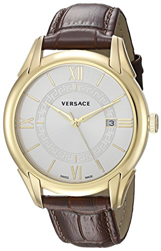 Versace Men's'APOLLO' Swiss Quartz Stainless Steel and Leather Casual Watch, Color:Brown (Model: V10030015)