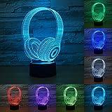 3D DJ Headphone Night Light Studio Music Headset 7 Coloful Earphone LED Table Lamp Bedroom Decor Sleep Lighting Best Gifts