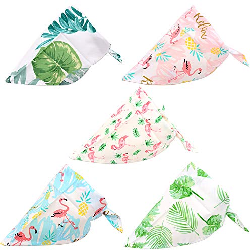 5PCS/Pack Pet Dog Puppy Bandanas Adjustable Rainforest&Flamingo Style Dog Summer Scarf Bandage ()