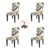 TIKAMI 4PCS Spandex Printed Fit Stretch Dinning Room Chair Slipcovers (4, Coffee)
