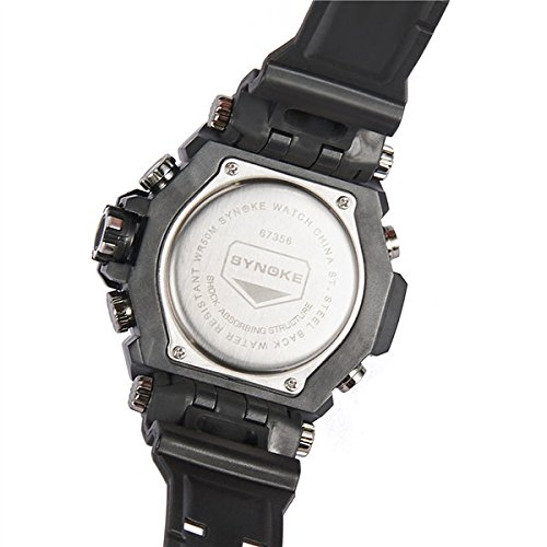 MODIWEN Men Outdoor Army Military 51m Waterproof Multi-Function Sports Watch, For Students Alarm Date Chronograph Luminous Dual Display Wristwatches Clock