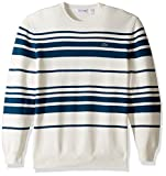 Lacoste Men's Milano Stitch Stripe Sweater, AH2977-51, Flour/Legion Blue, S