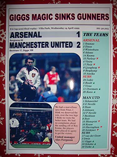 Sports Prints UK Arsenal 1 Manchester United 2-1999 FA Cup semi-Final - Souvenir Print (Ryan Giggs United Manchester)