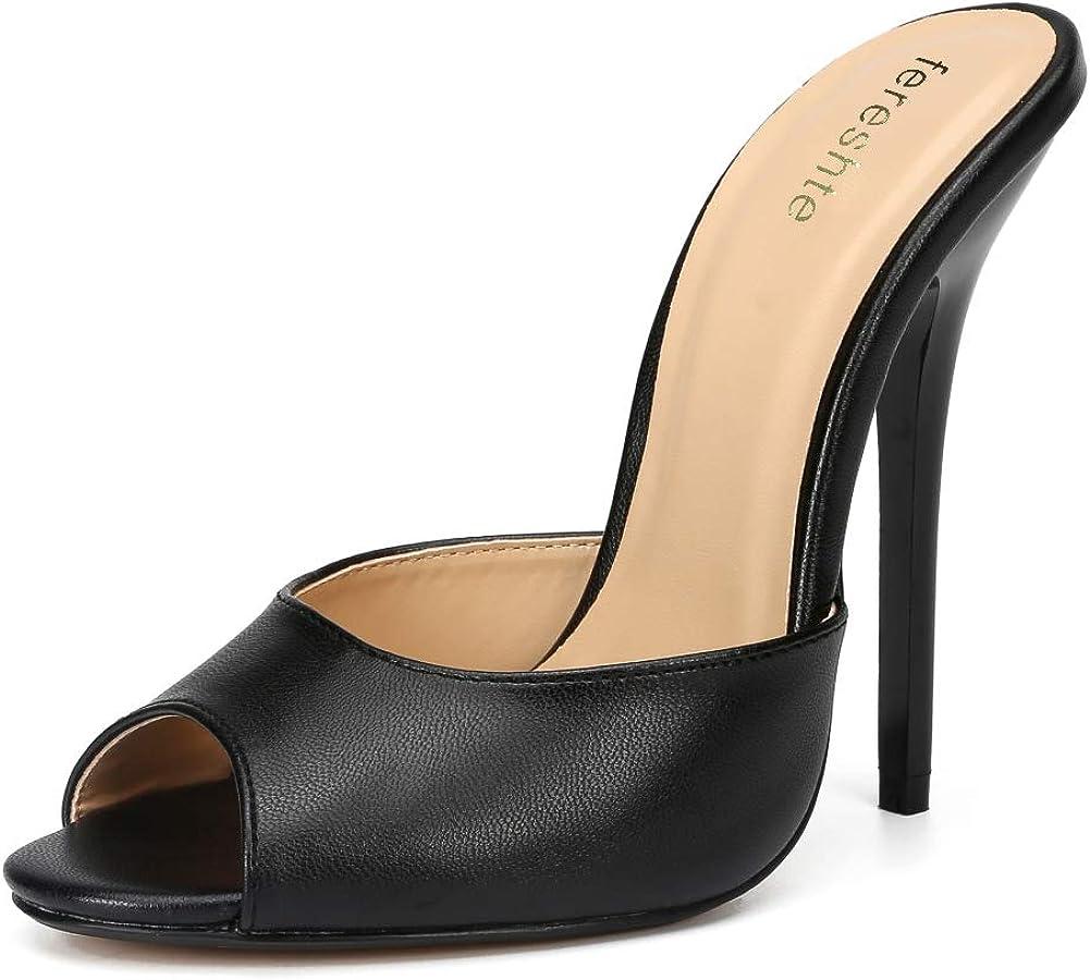 fereshte Women's Men's Peep-Toe Mules