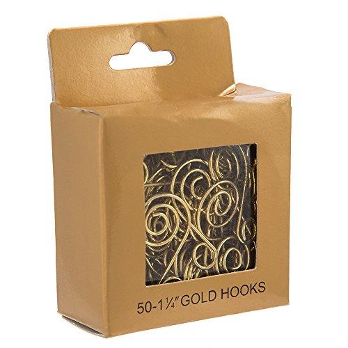 Kurt Adler Ornament Hook, 1.25-Inch, Gold, Set of 50 (Ornament Mercury Glass Christmas)