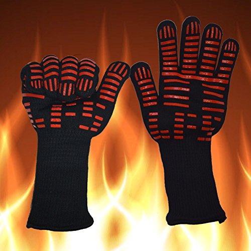 BBQ Gloves Grill Gloves Kitchen Oven Mitts 932°F Extreme Heat Resistant Gloves 14'' Long Cut Resistant and Forearm Protection baking & Grilling Gloves (1 Pair) by ITESTOO (Image #5)