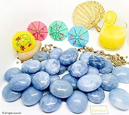 100g-150g, Bleu ciel Galet Calcite bleue qualit/é extra AAA+ Pierre bien-/être Eusice lithoth/érapie 100/% naturelle