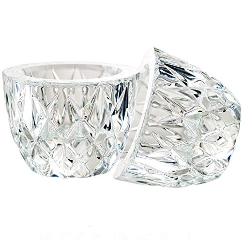 (DONOUCLS Crystal Tealight Candle Holder Pack of 2 Party Dinner Hand-Cut 2.4'' X 1.7'' Clear )