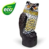 Owl Decoy Bird Deterrent - Scarecrow Fake Owls to Keep Birds Away and Bird Control Garden Owl w/ Solar Powered Owl Eyes and Noise to Scare Birds